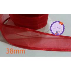 cinta organza 38mm rojo