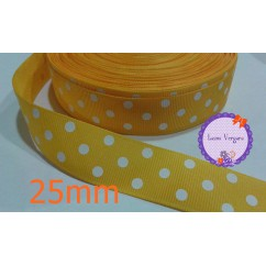 lunares amarillo /blanco 25mm