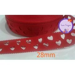 cinta perforada corazones roja 28mm