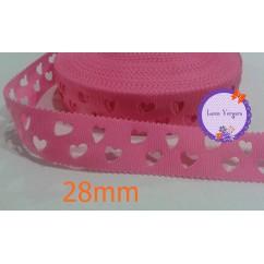cinta perforada corazones rosa chicle 28mm
