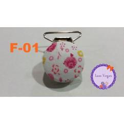 chupetero flores forrado 25mm