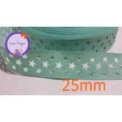 cinta perforada estrella verde agua 25mm