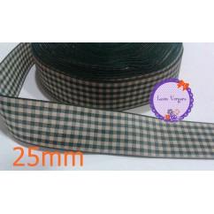 cinta cuadros tela verde/camel 25mm