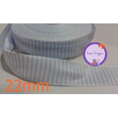 cinta raya tela celeste/blanco 25mm