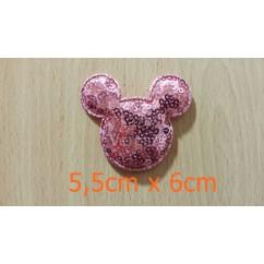 aplique minnie lentejuela rosa 5,5cm x6cm