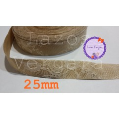 cinta raso camel/encaje marfil 25mm