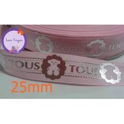 cinta osito rosa /plata 25mm