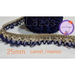 puntilla fruncida doble 25mm CAMEL/MARINO