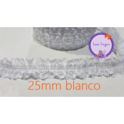 Puntilla fruncida elastica 25mm (VER COLORES)