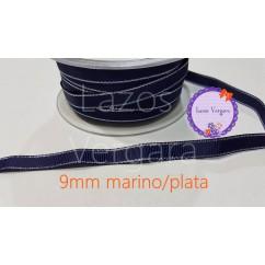 grosgrain marino filo plata 9mm