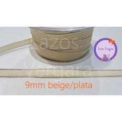 grosgrain beige filo plata 9mm