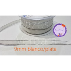 grosgrain blanco filo plata 9mm