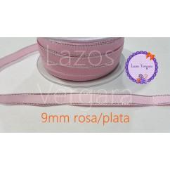 grosgrain rosa filo plata 9mm