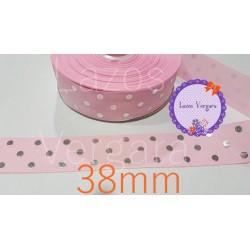 Lunares rosa/lunar plata 38mm