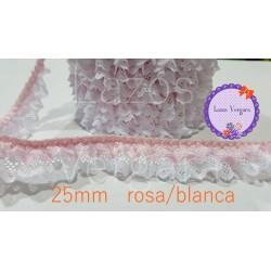 puntilla fruncida doble 25mm BLANCO/ROSA