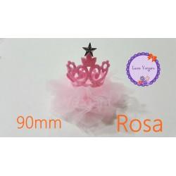 Corona rosa Tul rosa 90mm