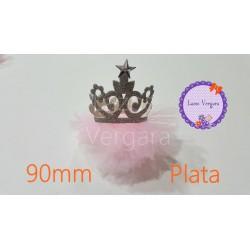 Corona Plata tul rosa 90mm