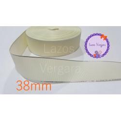Cinta grosgrain beige/ plata 38mm