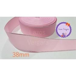 Cinta grosgrain rosa/plata 38mm