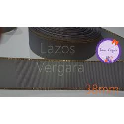 Cinta grosgrain gris/dorada 38mm