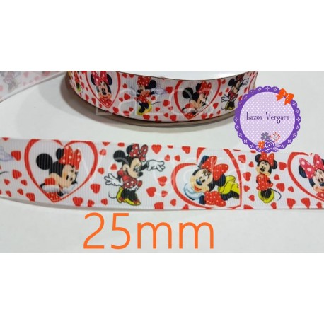 cinta minnie roja/blanco 25mm