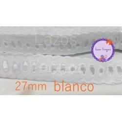 pasacinta bordado 27mm BLANCO